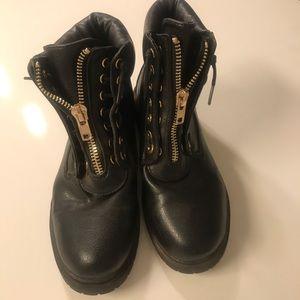Nasty Gal Black Zipped Combat Boots